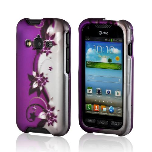 Black Vines on Purple/ Silver Rubberized Hard Case for Samsung Rugby Pro