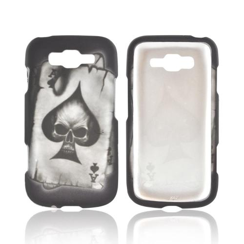Samsung Focus 2 Rubberized Hard Case - Ace Skull on Black