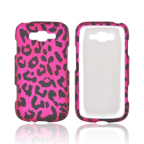 Samsung Focus 2 Rubberized Hard Case - Hot Pink/ Black Leopard