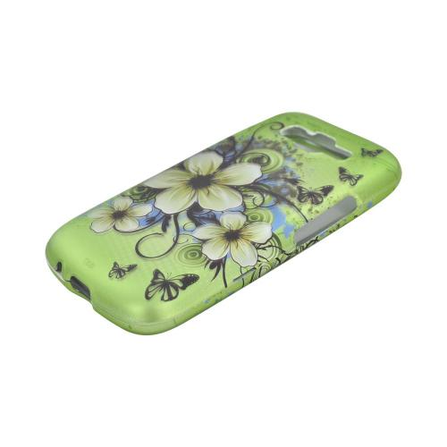 Samsung Focus 2 Rubberized Hard Case - White Hawaiian Flowers on Green