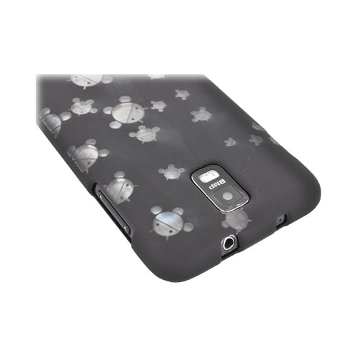 Samsung Galaxy S2 Skyrocket Androitastic Rubberized Hard Case - Black Bubble Bot Invasion