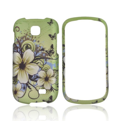 Samsung Galaxy Appeal Rubberized Hard Case - White Hawaiian Flowers on Green