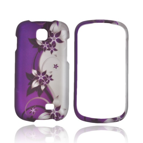 Samsung Galaxy Appeal Rubberized Hard Case - Purple Flowers/ Vines on Silver