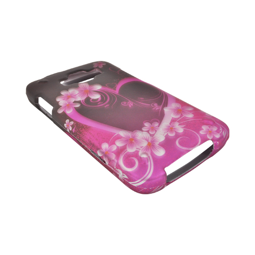 Samsung Rugby Smart i847 Rubberized Hard Case - Hot Pink/ Purple Flowers & Heart