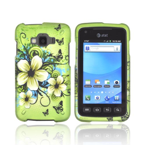 Samsung Rugby Smart i847 Rubberized Hard Case - White Hawaiian Flowers on Green
