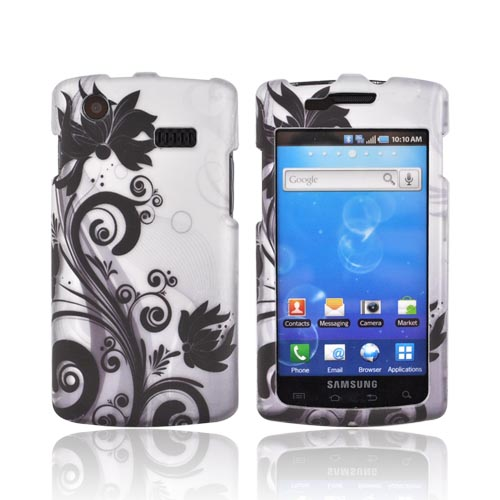 Samsung Captivate i897 Rubberized Hard Case - Black Flowers & Vines on Gray