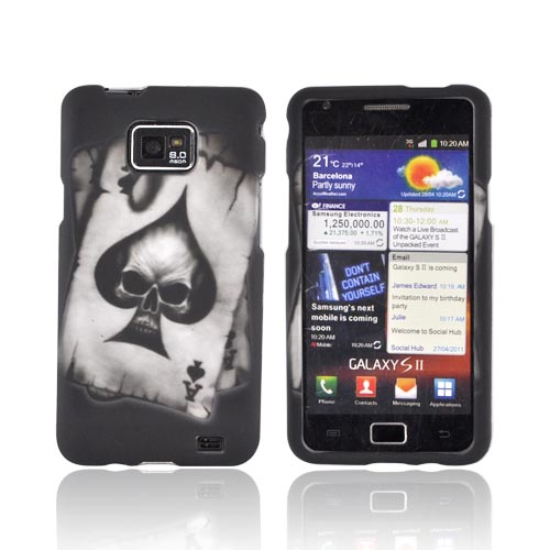 AT&T Samsung Galaxy S2 Rubberized Hard Case - Ace Skull on Gray
