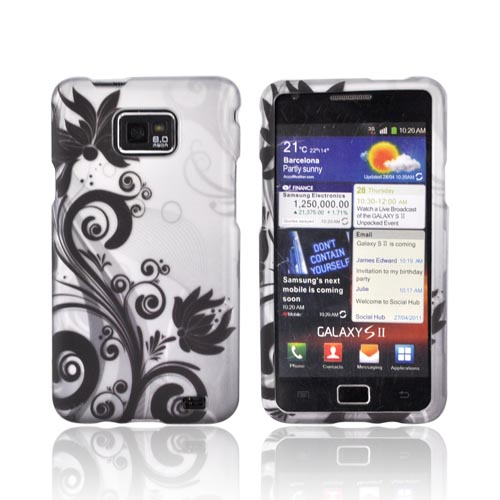 AT&T Samsung Galaxy S2 Rubberized Hard Case - Black Flowers & Vines on Gray