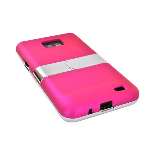 AT&T Samsung Galaxy S2 Rubberized Hard Case w/ Chrome Kickstand - Magenta