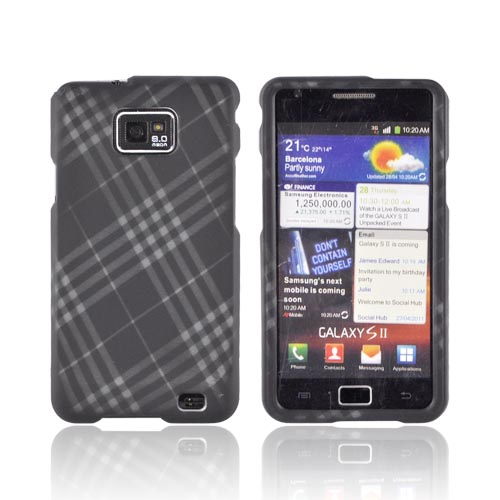 AT&T Samsung Galaxy S2 Rubberized Hard Case - Gray Plaid on Black