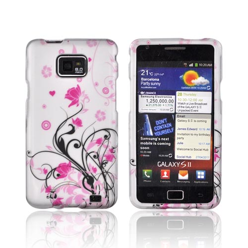 AT&T Samsung Galaxy S2 Rubberized Hard Case - Pink Flowers & Black Vines on Gray
