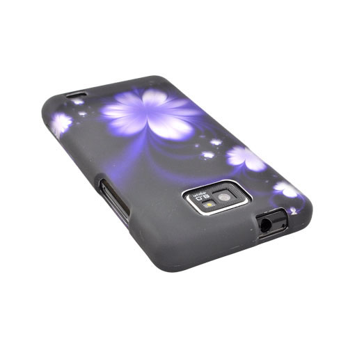 AT&T Samsung Galaxy S2 Rubberized Hard Case - Purple Flower on Black