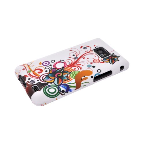 AT&T Samsung Galaxy S2 Rubberized Hard Case - Rainbow Autumn Floral Design on White