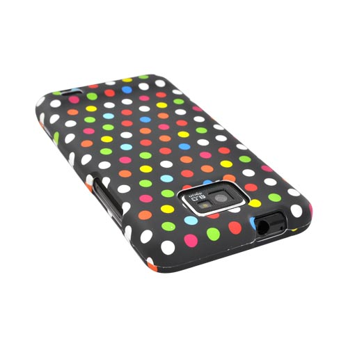 AT&T Samsung Galaxy S2 Rubberized Hard Case - Rainbow Polka Dots on Black