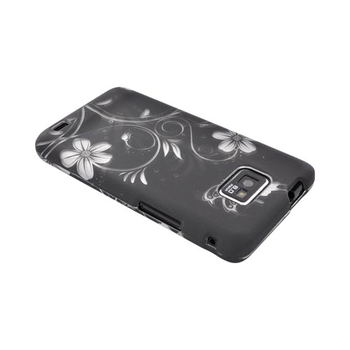 AT&T Samsung Galaxy S2 Rubberized Hard Case - White Flowers on Black