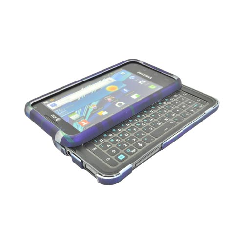 Samsung Captivate Glide i927 Rubberized Hard Case - Blue Plaid on Silver