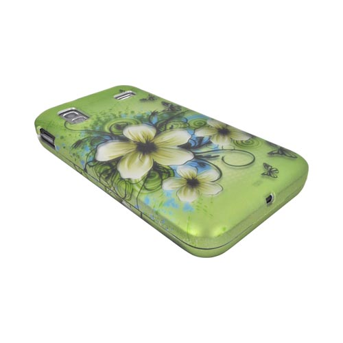 Samsung Captivate Glide i927 Rubberized Hard Case - White Hawaiian Flowers on Green