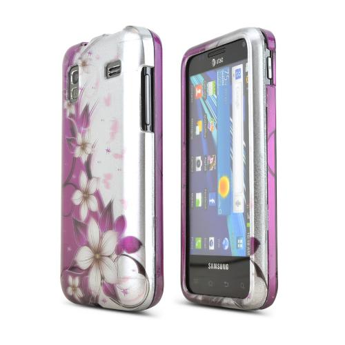 Samsung Captivate Glide i927 Hard Case - Purple Vines/ Flowers on Silver