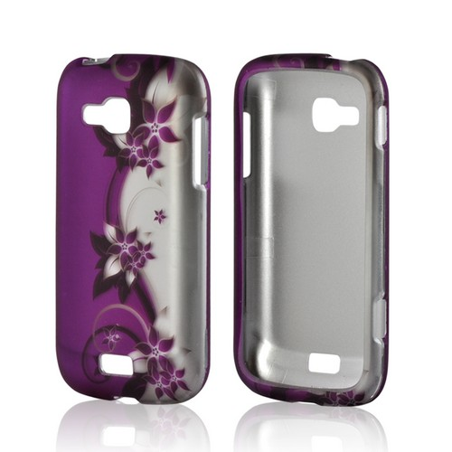 Purple Flowers/ Vines on Silver Rubberized Hard Case for Samsung ATIV Odyssey