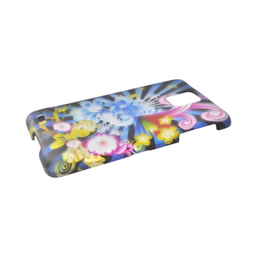 Samsung Infuse i997 Rubberized Hard Case - Blue Floral Burst