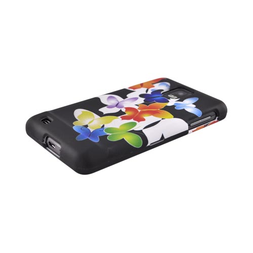 Samsung Infuse i997 Rubberized Hard Case - Rainbow Butterflies on Black