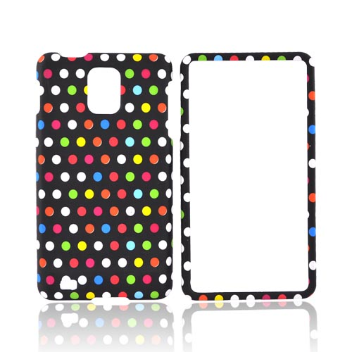 Samsung Infuse i997 Rubberized Hard Case - Rainbow Polka Dots