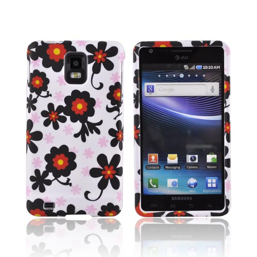 Samsung Infuse i997 Rubberized Hard Case - Red/ Black Daisies on White