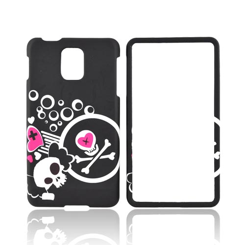 Samsung Infuse i997 Rubberized Hard Case - White Skulls & Pink Hearts on Black