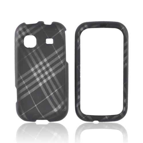 Samsung Trender M380 Rubberized Hard Case - Gray Plaid on Black