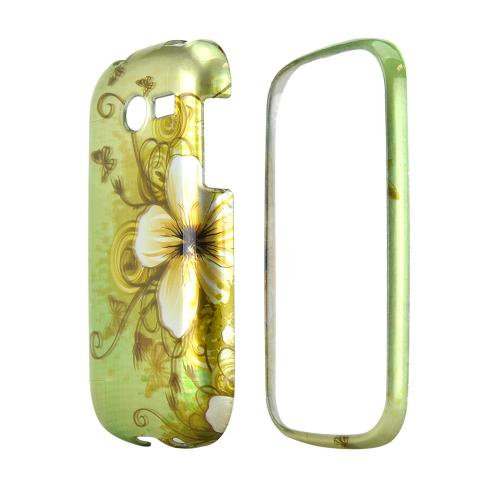 Samsung Array M390 Hard Case - White Hawaiian Flowers on Green