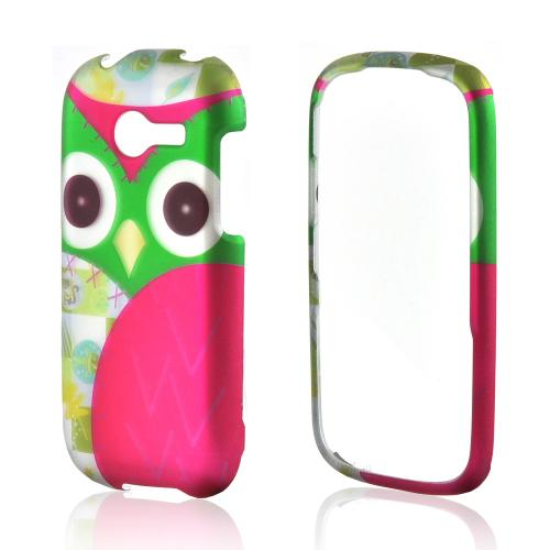 Hot Pink/ Green Owl Rubberized Hard Case for Samsung Array M390