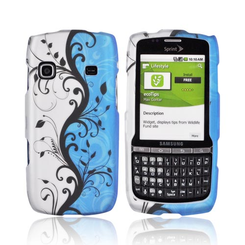 Samsung Replenish M580 Rubberized Hard Case - Black Vines on Blue & Silver