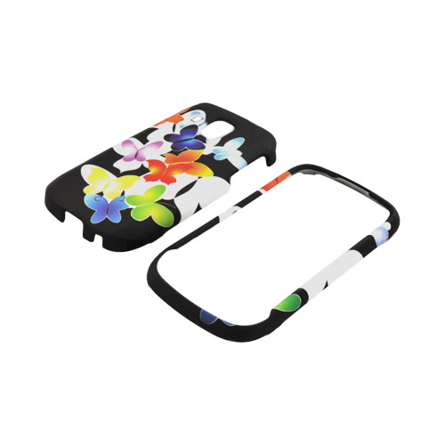 Samsung Transform Ultra M930 Rubberized Hard Case - Rainbow Butterflies on Black