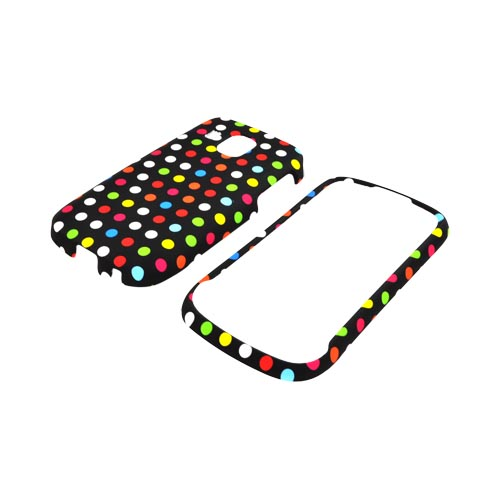 Samsung Transform Ultra M930 Rubberized Hard Case - Rainbow Polka Dots on Black