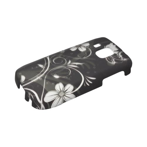 Samsung Transform Ultra M930 Rubberized Hard Case - White Flowers & Butterfly on Black