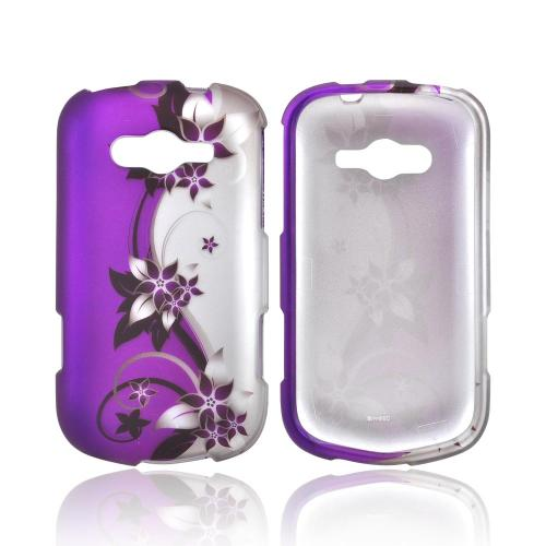 Samsung Galaxy Reverb Rubberized Hard Case - Purple Vines/ Flowers on Silver