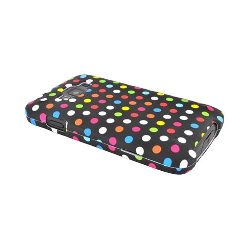 Samsung Rugby Smart i847 Rubberized Hard Case - Rainbow Polka Dots on Black