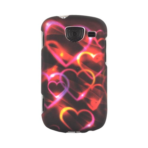 Samsung Brightside Rubberized Hard Case - Pink/ Gold Hearts on Espresso Brown