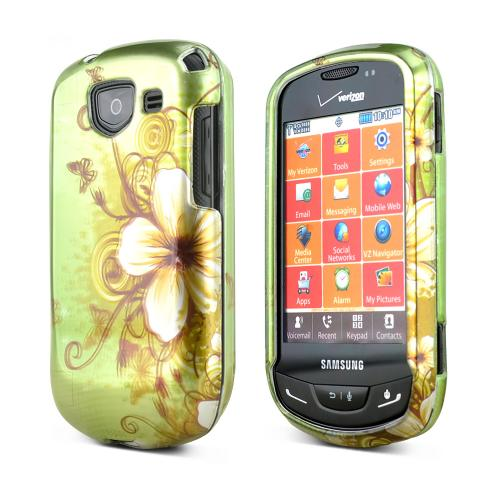 Samsung Brightside Rubberized Hard Case - White Hawaiian Flowers on Green