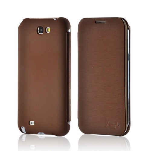 Brown Diary Flip Cover Premium Rubberized Hard Case w/ ID Slot for Samsung Galaxy Note 2