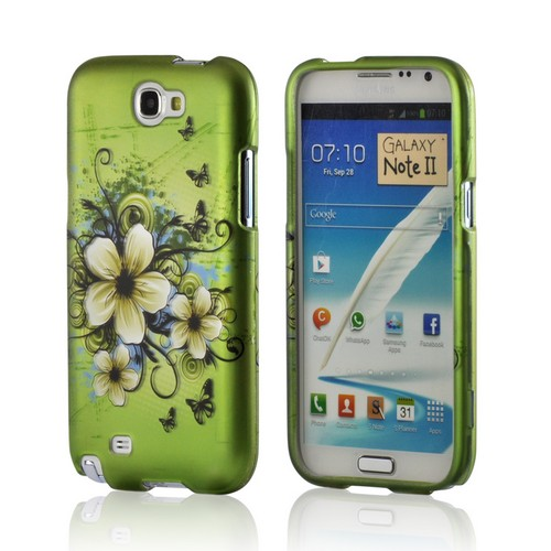 White Hawaiian Flowers on Green Hard Case for Samsung Galaxy Note 2