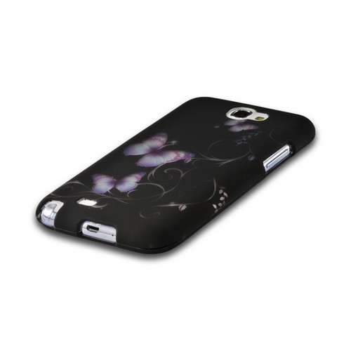Purple Butterflies on Black Rubberized Hard Case for Samsung Galaxy Note 2