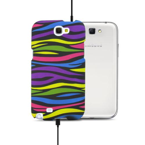 Rainbow Zebra on Black Rubberized Hard Case for Samsung Galaxy Note 2