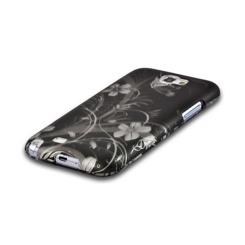 Silver Flowers on Black Rubberized Hard Case for Samsung Galaxy Note 2