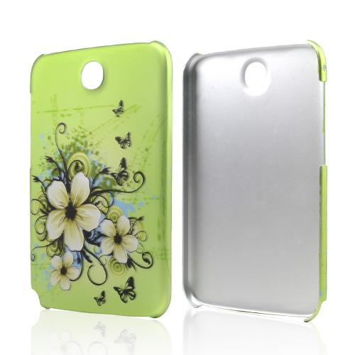 White Hawaiian Flowers on Green Rubberized Hard Case for Samsung Galaxy Note 8.0