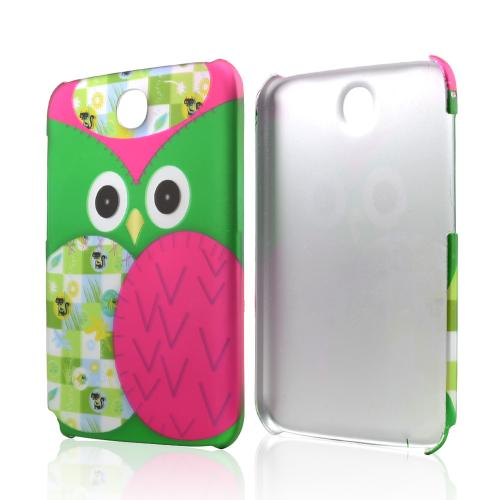 Hot Pink / Green Owl Rubberized Hard Case for Samsung Galaxy Note 8.0