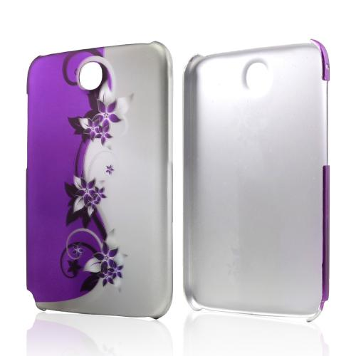 Purple Vines/ Flowers on Silver Rubberized Hard Case for Samsung Galaxy Note 8.0