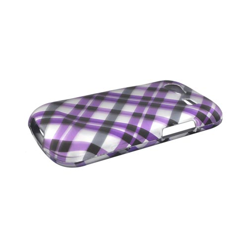 Google Nexus S Rubberized Hard Case - Checkered Design of Purple and Gray on Silver