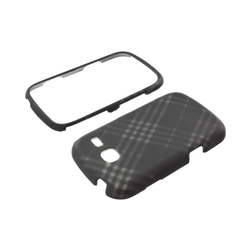 Samsung Freeform 3 Rubberized Hard Case - Gray Plaid on Black