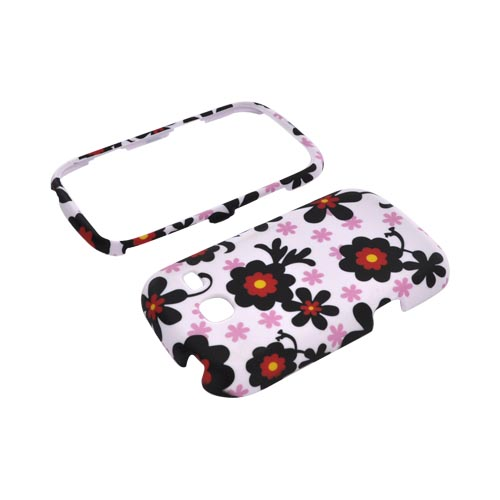 Samsung Freeform 3 Rubberized Hard Case - Black/ Red Daisies on White